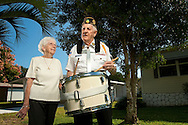 """Loretta and Francis J. Lussier, Massachusetts<br /> """"Being a veteran, I like to keep up with the veterans of my own age,"""" said WWII Marine veteran Francis J. Lussier, who served in the Battle of Midway. Lussier plays the drums for veterans' organizations during ceremonies, but because he is blind, his wife Loretta gives him a signal when to start and stop. """"I think I've lived a long life and I have no regrets,"""" said Lussier. The Lussiers have been married over 63 years and met in the drum corps."""