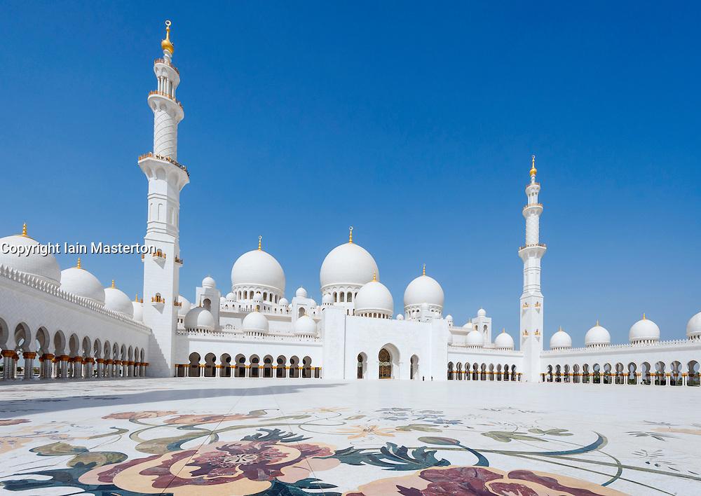 View of ornate courtyard of Sheikh Zayed Grand Mosque in Abu Dhabi United Arab Emirates