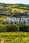 Stainless steel storage tanks for port wine production at Quinta do Castelinho on the hill slopes River Douro region in Portugal