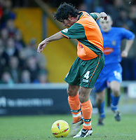 Photo. Aidan Ellis.<br /> Stockport County v Plymouth Argyle.<br /> Nationwide Division 2.<br /> 24/01/2004.<br /> Plymouth's David Frio scores the first goal