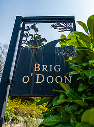 View of sign at Brig O Doon in Alloway, Ayrshire, Scotland, UK.