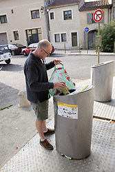Tourist recycling, Uzes, Gard, Southern France 2021 MR