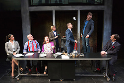 """© Licensed to London News Pictures. 16/04/2015. London, England. L-R: Laura Smithers, Jim Bywater, Clare Higgins, John Atterbury, Greg Hicks, Ryan Wichert and Peter Bourke. Arcola Theatre presents the World Premiere of the Fleet Street comedy """"Clarion"""" by Mark Jagasia. The play is directed by Mehmet Ergen with Greg Hicks as power-crazed editor Morris Honeyspoon and Clare Higgins as washed-up journalist Verity Stokes. """"Clarion"""" runs at the Arcola from 15 April to 16 May 2015. Photo credit: Bettina Strenske/LNP"""
