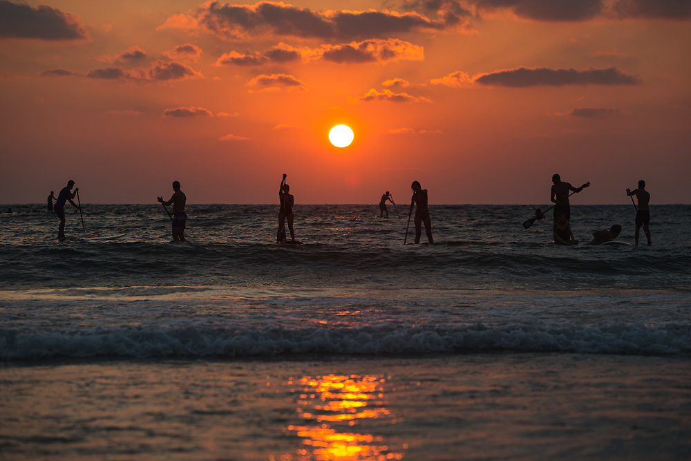 Paddle boarders are silhouetted during sunset at Gordon beach in Tel Aviv