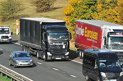 © Licensed to London News Pictures. 12/10/2018<br /> WROTHAM, UK.<br /> Traffic on the M26 at Wrotham.<br /> The M26 motorway in Kent is to be closed at night so it can be turned into a giant lorry park incase Britain leaves the EU with no deal. The M26 connects the M25 to the M20 towards Dover.<br /> Photo credit: Grant Falvey/LNP