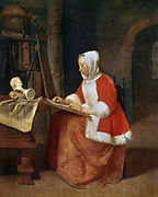 A Woman seated Drawing'. Gabriel Metsu (1629-1667) Dutch painter.   The scene illustrates the early stage of an artist's training when the pupil has to practice drawing after sculptures and prints.