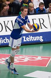 02-11-2014 GER: VfB Friedrichshafen - Berlin Recycling Volleys, Friedrichshafen<br /> Aufschlag / Service Maarten van Garderen (#4 Friedrichshafen)<br /> <br /> ***NETHERLANDS ONLY***