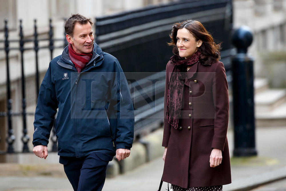 © Licensed to London News Pictures. 08/03/2016. London, UK. Health Secretary, JEREMY HUNT and Northern Ireland Secretary THERESA VILLIERS attending a cabinet meeting in Downing Street on Tuesday, 8 March 2016. Photo credit: Tolga Akmen/LNP