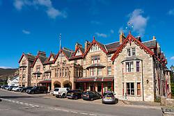 Exterior view of exclusive upmarket the Fife Hotel in Braemar, Aberdeenshire, Scotland, UK