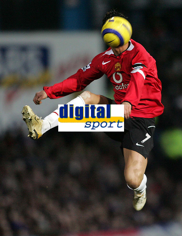 Photo: Lee Earle.<br /> Portsmouth v Manchester United. The Barclays Premiership. 11/02/2006. United's Cristiano Ronaldo clears the ball.