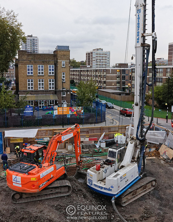 London, United Kingdom - 10 October 2015<br /> Huge drill cuts Virgin fiber cable. Thousand customers without weekend TV and internet. Severed fiber optic cables have caused up to a thousand customers of Virgin Media in Shoreditch and Hackney in London to be left without broadband internet and cable television this weekend. Engineers believe the total loss of service, which continues to be down this Saturday evening, is unlikely to be fixed until Sunday lunchtime at the earliest. The damage to a primary cable carrying 96 fiber optic cables including some belonging to the EE mobile network was caused by a huge drilling rig on a nearby construction site for a block of flats being built by Formation Construction Ltd. An engineer working on the drilling site claimed they had not 'drilled through the cable'. 'We damaged the cable' he said. He then demanded we delete images of the offending drilling rig. Technicians working on behalf of Virgin Media were working hard to replace the damaged cables. Virgin Media press office did not respond to repeated requests to speak with them for comment today.<br /> (photo by: EQUINOXFEATURES.COM)<br /> <br /> Picture Data:<br /> Photographer: Equinox Features<br /> Copyright: ©2015 Equinox Licensing Ltd. +448700 780000<br /> Contact: Equinox Features<br /> Date Taken: 20151010<br /> Time Taken: 18053147<br /> www.newspics.com