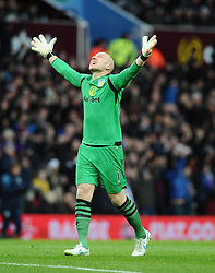 Aston Villa's Brad Guzan celebrates Aston Villa's Christian Benteke's goal  - Photo mandatory by-line: Joe Meredith/JMP - Mobile: 07966 386802 - 20/12/2014 - SPORT - football - Birmingham - Villa Park - Aston Villa v Manchester United - Barclays Premier League