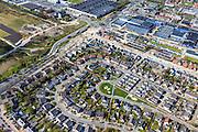 Nederland, Friesland, Gemeente Smallingerland, 01-05-2013; Drachten-West. Overgang westelijk deel van het centrum naar bedrijventerrein. Stadsvillaatjes en Twee-onder-een-kapwoningen in nieuwbouwwijk in Drachten West.<br /> Newly constructed houses in residential district in former rural area in West Drachten, near business park.<br /> luchtfoto (toeslag op standard tarieven);<br /> aerial photo (additional fee required);<br /> copyright foto/photo Siebe Swart