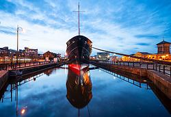 Night view of new Fingal floating hotel in Leith docks, Edinburgh, Scotland, UK