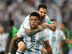 June 26, 2018 - Saint Petersburg, Russia - Argentina's MARCOS ROJO (bottom) celebrates scoring with LIONEL MESSI during the 2018 FIFA World Cup Group D match between Nigeria and Argentina in Saint Petersburg. (Credit Image: © Yang Lei/Xinhua via ZUMA Wire)