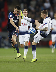 BRITAIN-LONDON-FOOTBALL-CHAPIONS LEAGUE-HOTSPUR VS EINDHOVEN.(181106) -- LONDON, Nov. 6, 2018  Tottenham Hotspur's Kieran Trippier (R) fouls Eindhoven's Hirving Lozano during the UEFA Champions League match between Tottenham Hotspur and PSV Eindhoven in London, Britain on Nov. 6, 2018. Tottenham Hotspur won 2-1.  FOR EDITORIAL USE ONLY. NOT FOR SALE FOR MARKETING OR ADVERTISING CAMPAIGNS. NO USE WITH UNAUTHORIZED AUDIO, VIDEO, DATA, FIXTURE LISTS, CLUBLEAGUE LOGOS OR ''LIVE'' SERVICES. ONLINE IN-MATCH USE LIMITED TO 45 IMAGES, NO VIDEO EMULATION. NO USE IN BETTING, GAMES OR SINGLE CLUBLEAGUEPLAYER PUBLICATIONS. (Credit Image: © Xinhua via ZUMA Wire)