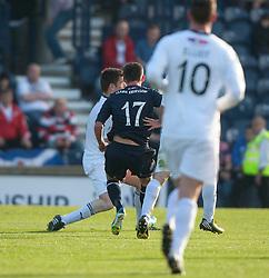 Falkirk's Kris Faulds (17) scoring their goal.<br /> Raith Rovers 1 v 1 Falkirk, Scottish Championship 28/9/2013.<br /> ©Michael Schofield.