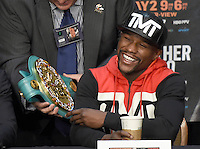 April 29.2015. Las Vegas NV.  Floyd Mayweather Jr. talks at the final press conference on his upcoming fight with Manny Pacquiao at the MGM grand hotel Wednesday. The two will be fighting this Saturday May 2nd at the MGM grand hotel in Las Vegas. Photo by Gene Blevins/LA DailyNews