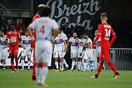 Memphis DEPAY (Olympique Lyonnais) scored a goal and celebrated it with Fernando Marcal de Oliveira (Olympique Lyonnais) and Lucas TOUSART (Olympique Lyonnais), Bertrand TRAORE (Olympique Lyonnais), Nabil FEKIR (Olympique Lyonnais), Mariano DIAZ MEJIA (Olympique Lyonnais), Benjamin BOURIGEAUD (STADE RENNAIS FOOTBALL CLUB), Rafael Pereira da Silva (Olympique Lyonnais), Joris GNAGNON (STADE RENNAIS FOOTBALL CLUB) during the French championship L1 football match between Rennes v Lyon, on August 11, 2017 at Roazhon Park stadium in Rennes, France - Photo Stephane Allaman / ProSportsImages / DPPI