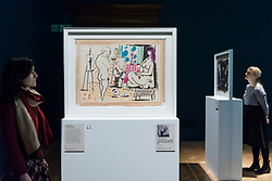 """© Licensed to London News Pictures. 21/01/2020. LONDON, UK. Staff members view (L to R) """"In the studio"""", 1955, and """"Visage: Head of a Faun"""", 1955, both by Pablo Picasso at the preview of """"Picasso and Paper"""", an exhibition at the Royal Academy of Arts, which is the most comprehensive exhibition ever devoted to Pablo Picasso's imaginative and original uses of paper .  Over 300 works both on and with paper, are on display 25 January to 13 April 2020.  Photo credit: Stephen Chung/LNP"""