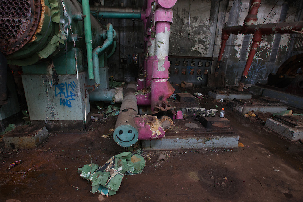 Machine shop in an abandoned factory in Detroit.