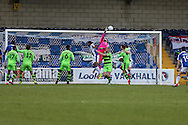 Forest Green Rovers goalkeeper Sam Russell(23) pushes away a Chester free kick during the FA Trophy 2nd round match between Chester FC and Forest Green Rovers at the Deva Stadium, Chester, United Kingdom on 14 January 2017. Photo by Shane Healey.