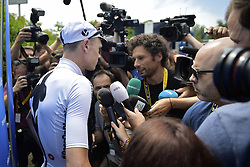 July 16, 2018 - Chambery, FRANCE - British Chris Froome of Team Sky pictured during a press conference on the first rest day in the 105th edition of the Tour de France cycling race, in Chambery, France, Monday 16 July 2018. This year's Tour de France takes place from July 7th to July 29th. BELGA PHOTO YORICK JANSENS (Credit Image: © Yorick Jansens/Belga via ZUMA Press)