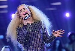 Paloma Faith performing at the Brit Awards 2018 Nominations event held at ITV Studios on Southbank, London.