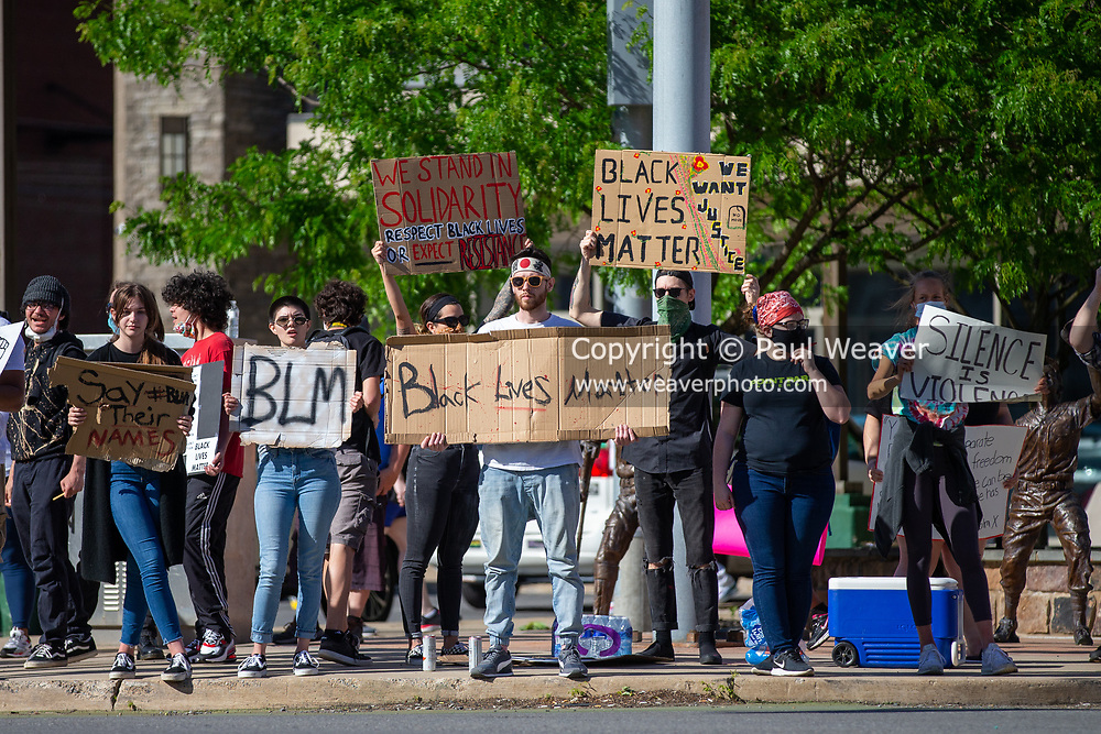 Several hundred people gathered at Third and Market Streets in Williamsport, PA to protest police killing black people.