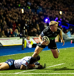 Kyle Steyn of Glasgow Warriors is tackled by Rey Lee-Lo of Cardiff Blues<br /> <br /> Photographer Simon King/Replay Images<br /> <br /> Guinness PRO14 Round 15 - Cardiff Blues v Glasgow Warriors - Saturday 16th February 2019 - Cardiff Arms Park - Cardiff<br /> <br /> World Copyright © Replay Images . All rights reserved. info@replayimages.co.uk - http://replayimages.co.uk
