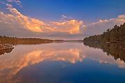 Evening reflection at Smoke Lake, Algonquin Provincial Park, Ontario, Canada