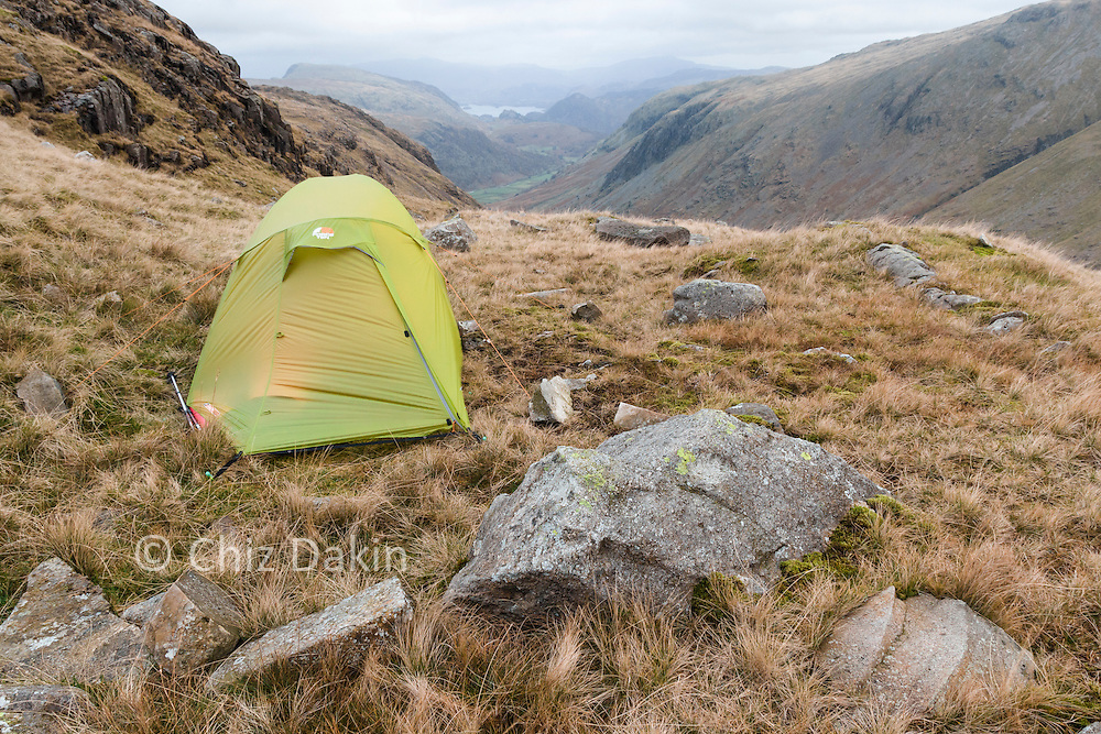 Shelter from the wind makes all the difference to a good night's sleep! (F10 Argon 200 on Seathwaite Fell near Great End in F5 gusting F8 winds - rock solid!)