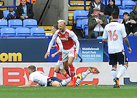Fleetwood Town's David Ball celebrates scoring his sides first goal <br /> <br /> Photographer Ian Cook/CameraSport<br /> <br /> Football - The EFL Sky Bet League One - Bolton Wanderers v Fleetwood Town - Saturday 20 August 2016 - Macron Stadium - Bolton<br /> <br /> World Copyright © 2016 CameraSport. All rights reserved. 43 Linden Ave. Countesthorpe. Leicester. England. LE8 5PG - Tel: +44 (0) 116 277 4147 - admin@camerasport.com - www.camerasport.com