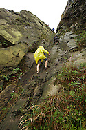 The ropes at the ridge line of Banpingshan are challenging, but doable, even in the rain.