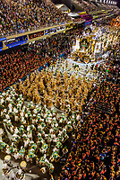 Floats in the Carnaval parade of Grande Rio samba school in the Sambadrome, Rio de Janeiro, Brazil.