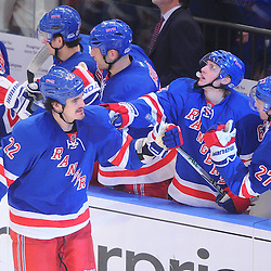 April 14, 2012: New York Rangers center Brian Boyle (22) celebrates his goal during third period action in Game 2 of the NHL Eastern Conference Quarter-finals between the Ottawa Senators and New York Rangers at Madison Square Garden in New York, N.Y.