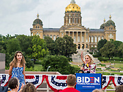 28 JUNE 2019 - DES MOINES, IOWA: Dr. JILL BIDEN speaks to voters at the State Historical Museum of Iowa. The Iowa State Capitol is behind her. Dr. Biden was in Des Moines Friday to campaign for her husband, former Vice President Joe Biden. Vice President Biden, who was Vice President for 8 years during the Obama administration, is one of the Democratic front runners for the Presidency. Iowa traditionally hosts the the first selection event of the presidential election cycle. The Iowa Caucuses will be on Feb. 3, 2020.             PHOTO BY JACK KURTZ