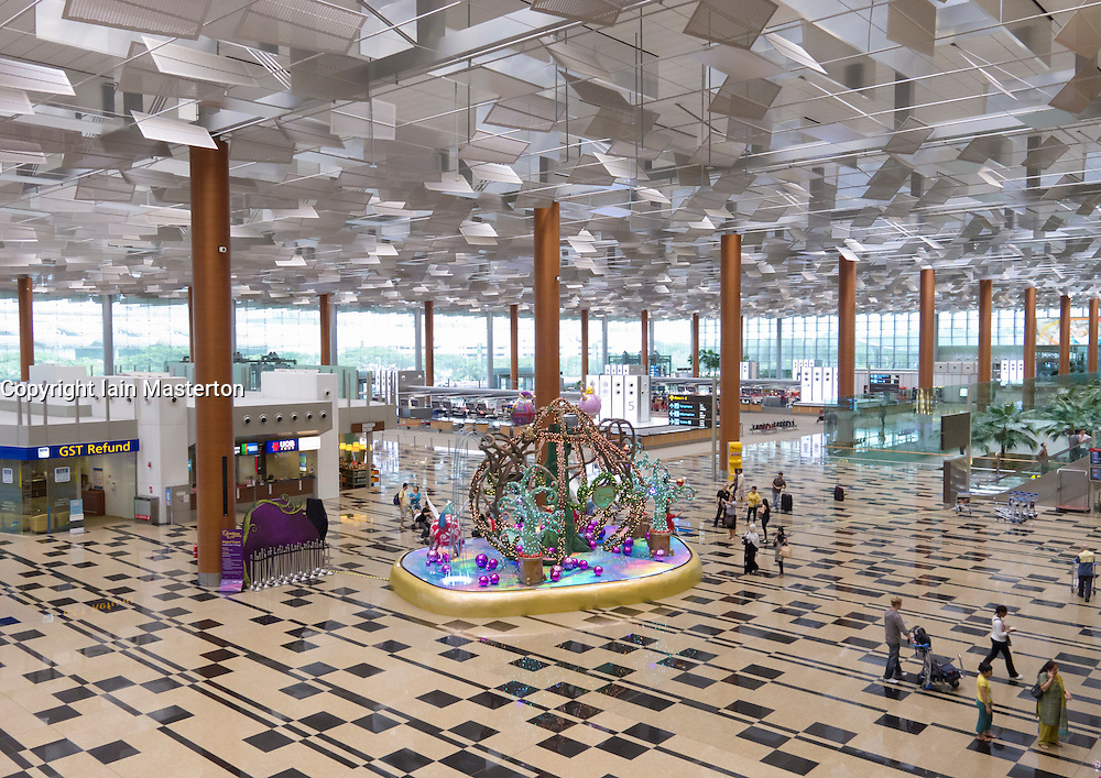 Interior of Departures hall at modern new Terminal 3 at Changi Airport in Singapore