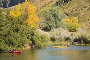 People kayaking around Ritter Island, Thousand Springs Art Festival, Hagerman, Idaho.