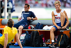 August 12, 2018 - Berlin, GERMANY - 180812 Renaud Lavillenie of France, Armand Duplantis of Sweden and Sondre Guttormsen of Norway competes in the men´s pole vault final competes in the men´s pole vault final  during the European Athletics Championships on August 12, 2018 in Berlin..Photo: Vegard Wivestad Grøtt / BILDBYRÃ…N / kod VG / 170206 (Credit Image: © Vegard Wivestad GrØTt/Bildbyran via ZUMA Press)