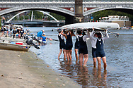 Melbourne Grammar School boys are seen lifting their eight over their heads after rowing training during the COVID-19 in Melbourne. With over a week of zero cases in Victoria, Premier Daniel Andrews is expected to make major announcements on Sunday about further easing of restrictions. (Photo by Dave Hewison/Speed Media)