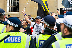 """Several hundred far right protesters in central London demand the release of """"political prisoner"""" right wing talisman Stephen Yaxley-Lennon  - also known as Tommy Robinson, who was imprisoned for contempt of court. London, August 03 2019."""