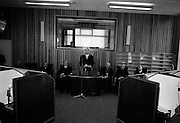 8/3/1965<br /> 3/8/1965<br /> 8 March 1965<br /> <br /> Dr. P.H. Hillery speaking at the opening of An Teanglann with Éamon de Valera to his left and Cardinal Conway on his right