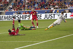 June 13, 2018 - Harrison, New Jersey, United States - Daniel Royer (77) of Red Bulls kicks ball scoring goal during regular MLS game against Seattle Sounders at Red Bull Arena Red Bulls won 2 -1  (Credit Image: © Lev Radin/Pacific Press via ZUMA Wire)