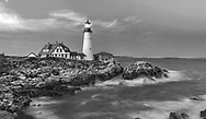 A black and white sunset at The Portland Head Light, Portland Maine, USA