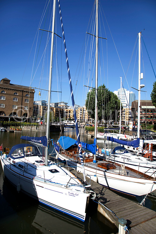 St Katherines Dock, a marina near to Tower Bridge. This marina allows boats and yachts in twice per day as the tide is high and the lock can allow ships in.