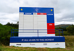 Auchterarder, Scotland, UK. 8 September 2019.  Final preparations underway at the Centenary Course at Gleneagles for the 2019 Solheim Cup between women golfers from Europe and the USA. The event runs from 9-15 September. Pictured; Empty leaderboard on the course. Iain Masterton/Alamy Live News
