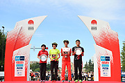 Ayuko Suzuki (left), Honami Maeda (second from left), Shogo Nakamura (second from right) and Yuma Hattori pose for a photo after the Marathon Grand Championship, Sunday Sept. 15 2019, in Tokyo.M aeda and Nakamura won the women's and men's competition, while Suzuki and Hattori finished second, all qualifying for the 2020 Tokyo Olympics(Agence SHOT/Image of Sport)