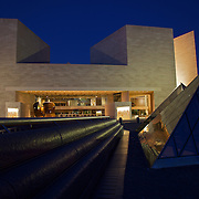 The blue hour fades quickly into night at the East Wing of the National Gallery of Art in Washington, DC