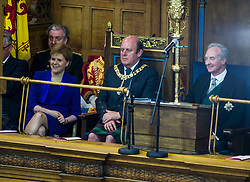 Pictured: Nicola Sturgeon and Frank Ross, Edinburgh's Right Honourable Lord Lieutenant and Lord Provost and the Lord Commissioner His Grace Richard Walter John Montague Stewart Scott, Duke of Buccleugh and Queensberry, KBE, DL, FSA, FRSE<br /> <br /> The 2018 General Assembly of the Church of Scotland begins.This year's annual gathering runs until Friday May 25<br /> <br /> Ger Harley   EEm 19 May 2018